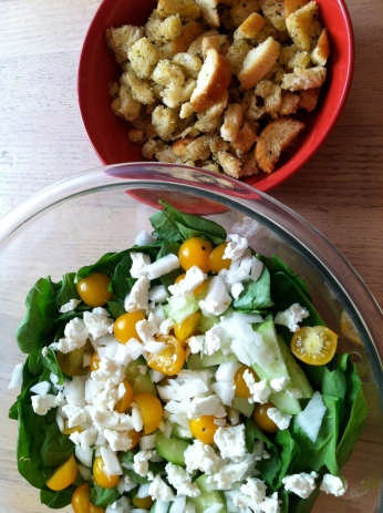 Yellow Goat Spinach Salad paired with homemade croutons