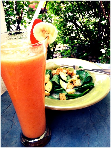 Sauteed Tofu and Zucchini Salad paired with smoothie Photo By: Jessica Whitehead