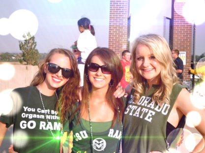 Student Life: Marlin DeCamp, Jessica Whitehead and Whitney Wright at a Colorado State University Football Game Photo By: Jessica Whitehead