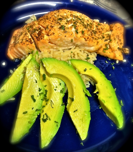 Simply Broiled Salmon served over brown rice, garnished with avocado. Photo by: Jessica Whitehed